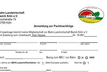 Aufnahmeantrag Mitglied und Gartenbewerber BLW-Koeln